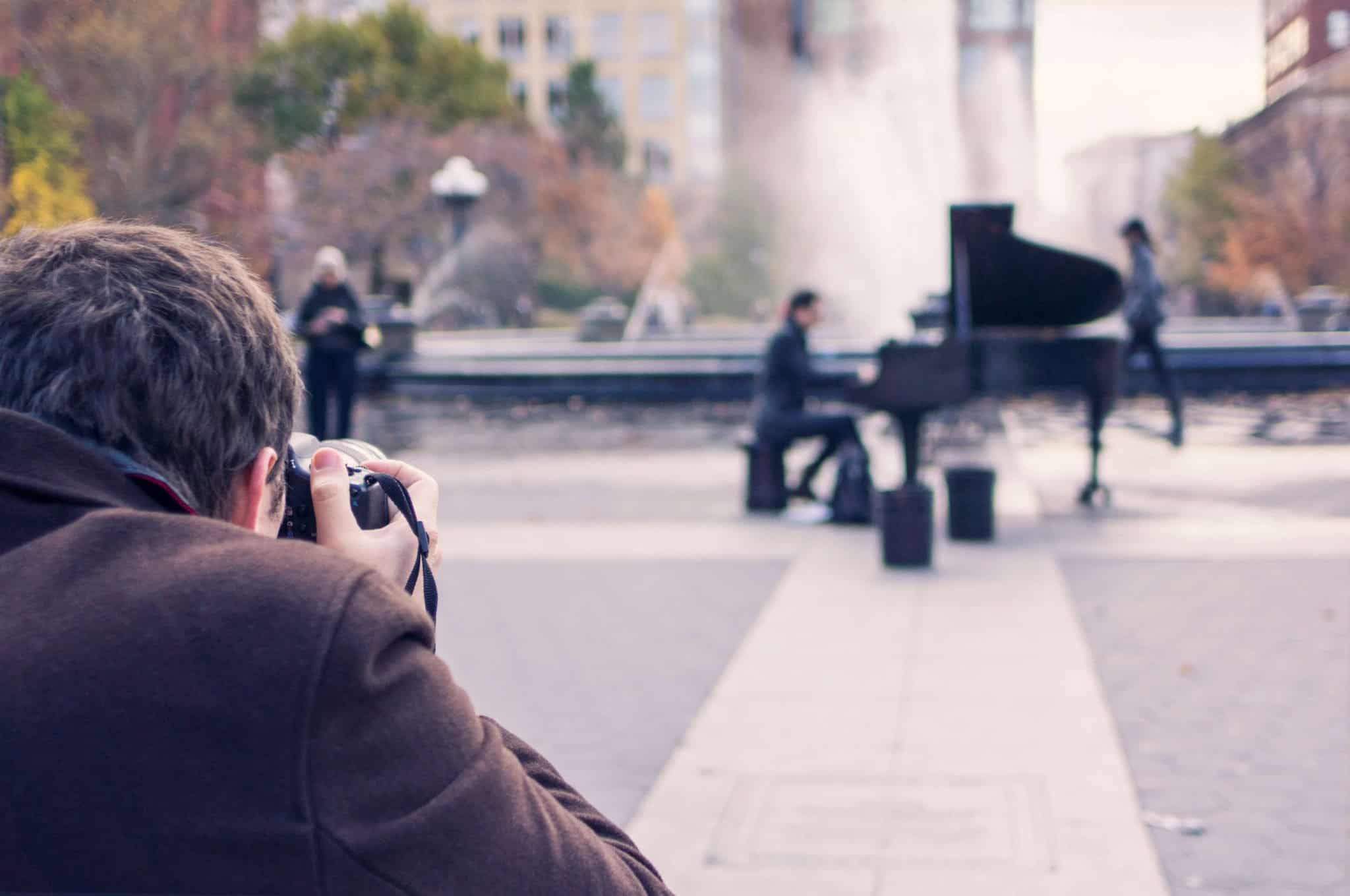 Pianist being photographed